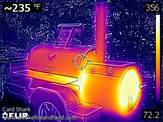 Thermal imagery of an offest with instlated firebox
