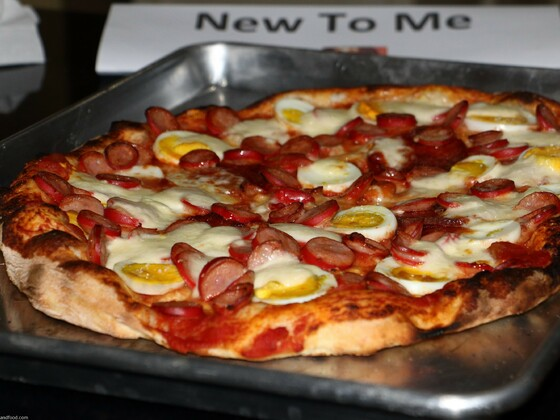 Pizza - Cabanossi, Boiled egg, Bocconcini - Maximus Pizza Oven