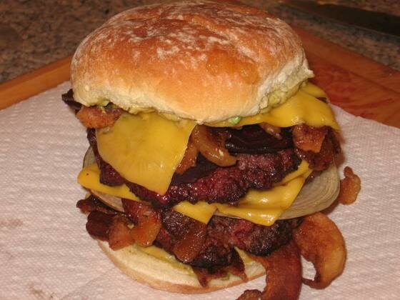 Double Bacon Cheeseburger w/6 slices of cheese and 12 slices of Bacon with Beetroot!