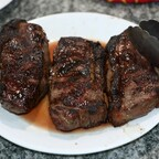 Reverse seared New York steak cooked on BSK Kamado