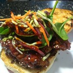 Fried chicken bulgogi burger.